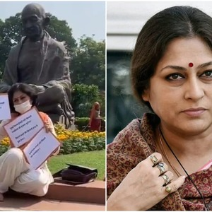 BJP MP Roopa Ganguly sitting on a dharna in Parliament premises in support of daughters in Bollywood BJP MP Roopa Ganguly sitting on a dharna in Parliament premises in support of daughters in Bollywood