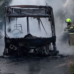 Fire service statement after bus completely gutted by flames