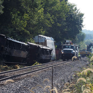 No one injured by derailed train in Ferguson