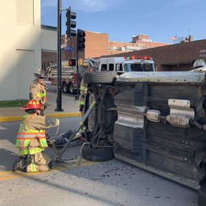 Columbia firefighters work extrication crash downtown