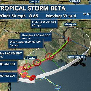 Slow-moving Tropical Storm Beta expected to make landfall in Texas