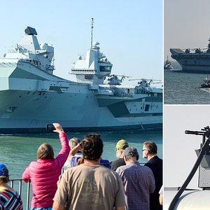 Royal Navy's new £3.1bn aircraft carrier HMS Queen Elizabeth sets sail